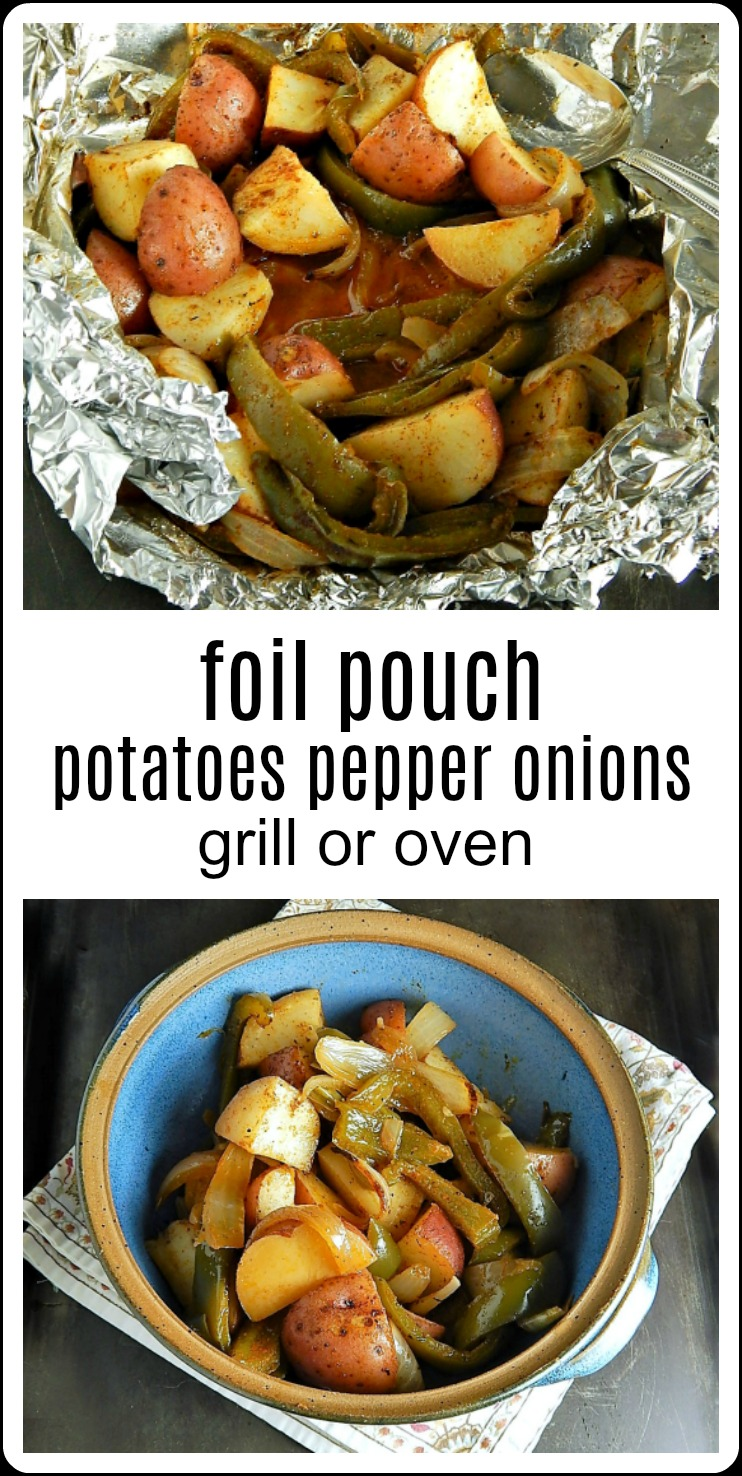 A simple, easy side dish that's great when grilling. These Foil Pouch Potatoes Peppers Onions go with just about anything from burgers to chicken to steak. #FoilPotatoes #FoilVegetables #FoulPouchPotatoesPeppersOnions