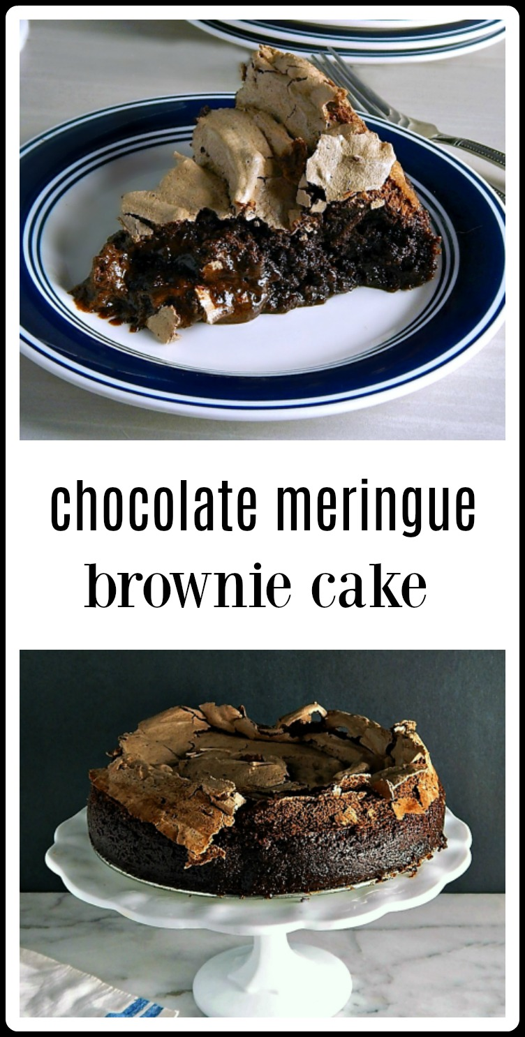 This is the pinnacle of Chocolate Meringue Brownie Cakes. The ooey, gooey deliciousness will send you into a chocolate delirium! This is easy enough fo ra weeknight and fabulous for any company! A showstopper! #ChocolateMeringueBrownies #MeringueBrownieCake #ChocolateCake #BrownieCake