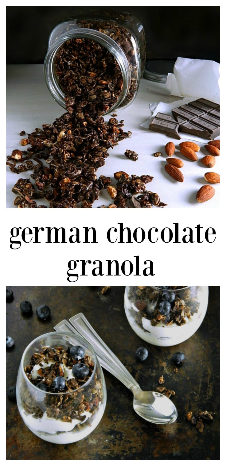 German Chocolate Granola is so good, you'll think you're sinning when you have it for breakfast! Full of oatmeal, almonds and a touch of dark chocolate it's actually healthy! Have it for breakfast or sprinkle it in yogurt parfaits. #ChocolateGranola #GermanChocolateGranola #GranolaYogurtParfaitsHave it for breakfast or sprinkle it in yogurt parfaits. #ChocolateGranola #GermanChocolateGranola #GranolaYogurtParfaits