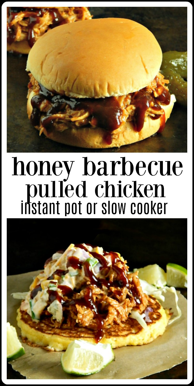 Make ahead Honey Barbecue Pulled Chicken in the Slow Cooker or Instant Pot. Dinner tonight and extra in the freezer for quick time-saving meals, later. #ChickenMealPrep #HoneyBarbecueChicken #HoneyBarbecueChickenInstantPot #HoneyBarbecueChickenSlowCooker #InstantPotChicken #SlowCookerChicken #InstantPot Meal Prep