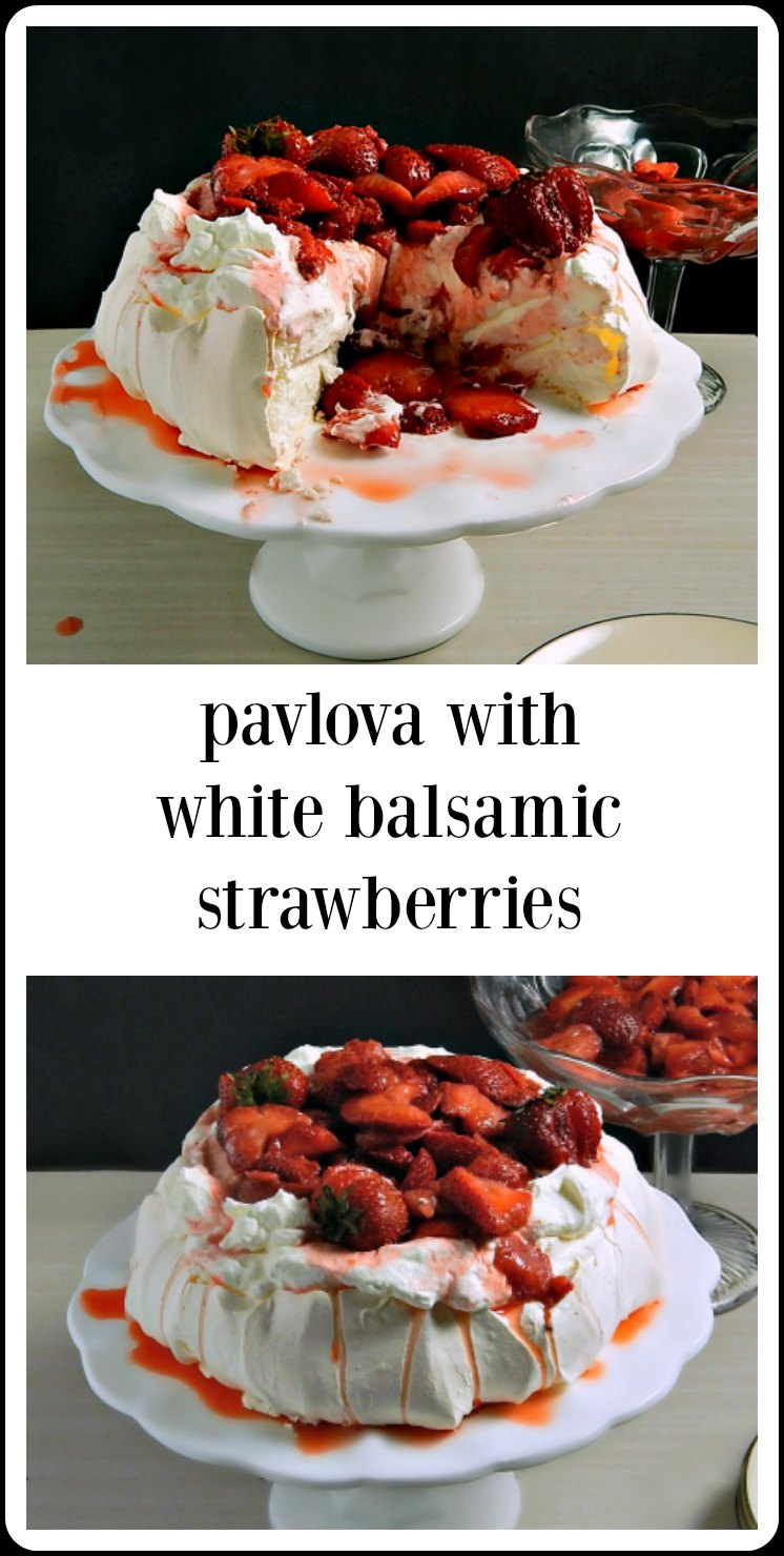 Pavlova with Strawberries in White Balsamic is the perfect low effort high pay off showstopper of a summer dessert! #Pavlova #PavlovaStrawberries