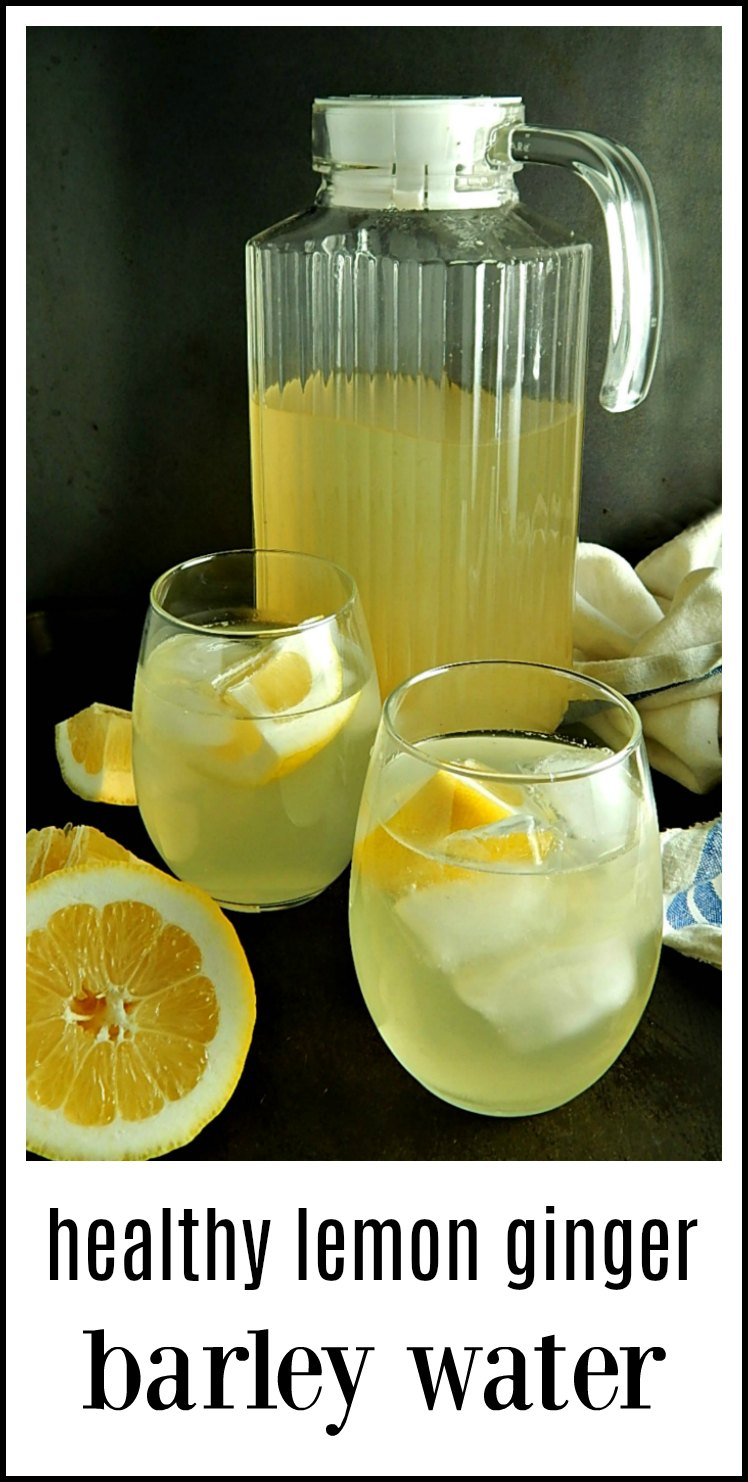 You're gonna love this beverage! Healthy Lemon Ginger Barley Water - so good you'll never know how good it is for you and super easy to make. Serve hot or cold. #BarleyWater #LemonBarleyWater #LemonGingerBarleyWater