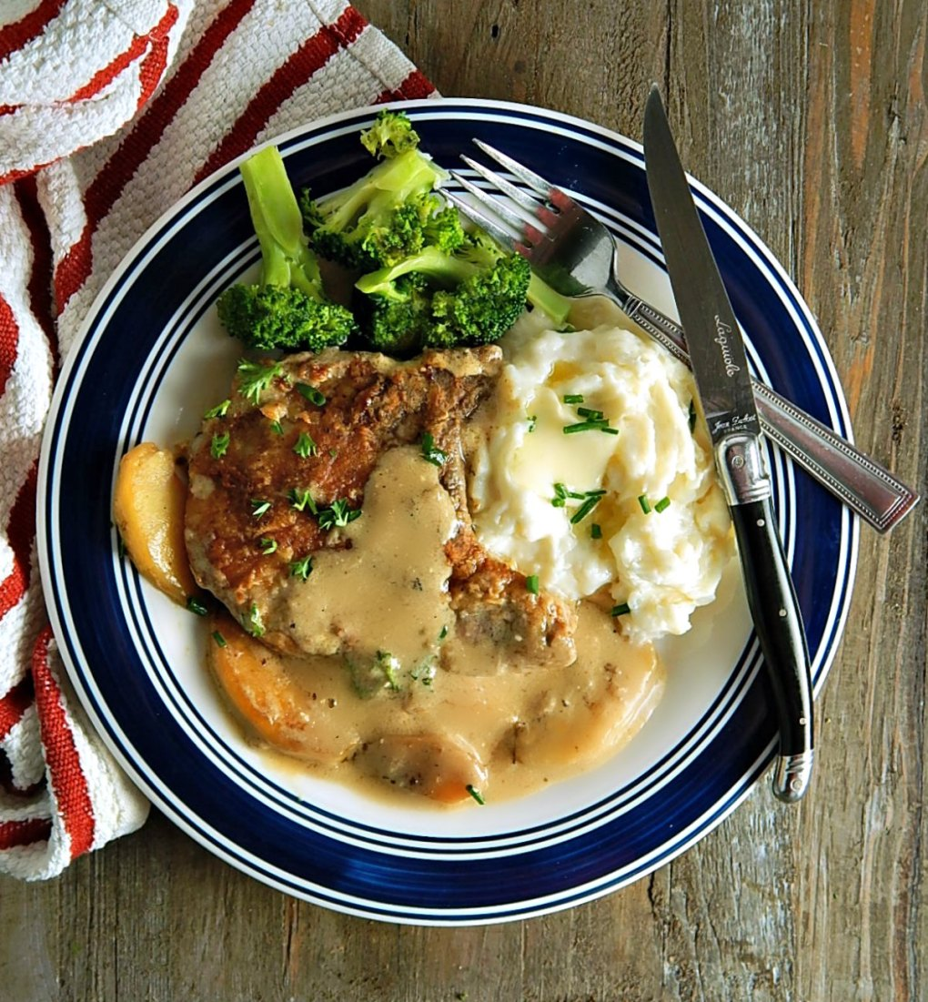 Apple & Cider Pork Chops with Perfect Instant Pot Mashed Potatoes & Simply Steamed Broccoli