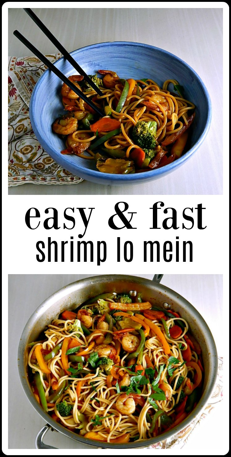 Easy Fast Shrimp Lo Mein is fresher & faster than take out and so easy to make. It's going to blow your mind. 20 minutes to make start to finish. #RestaurantStyleShrimpLoMein #Easy ShrimpLoMein