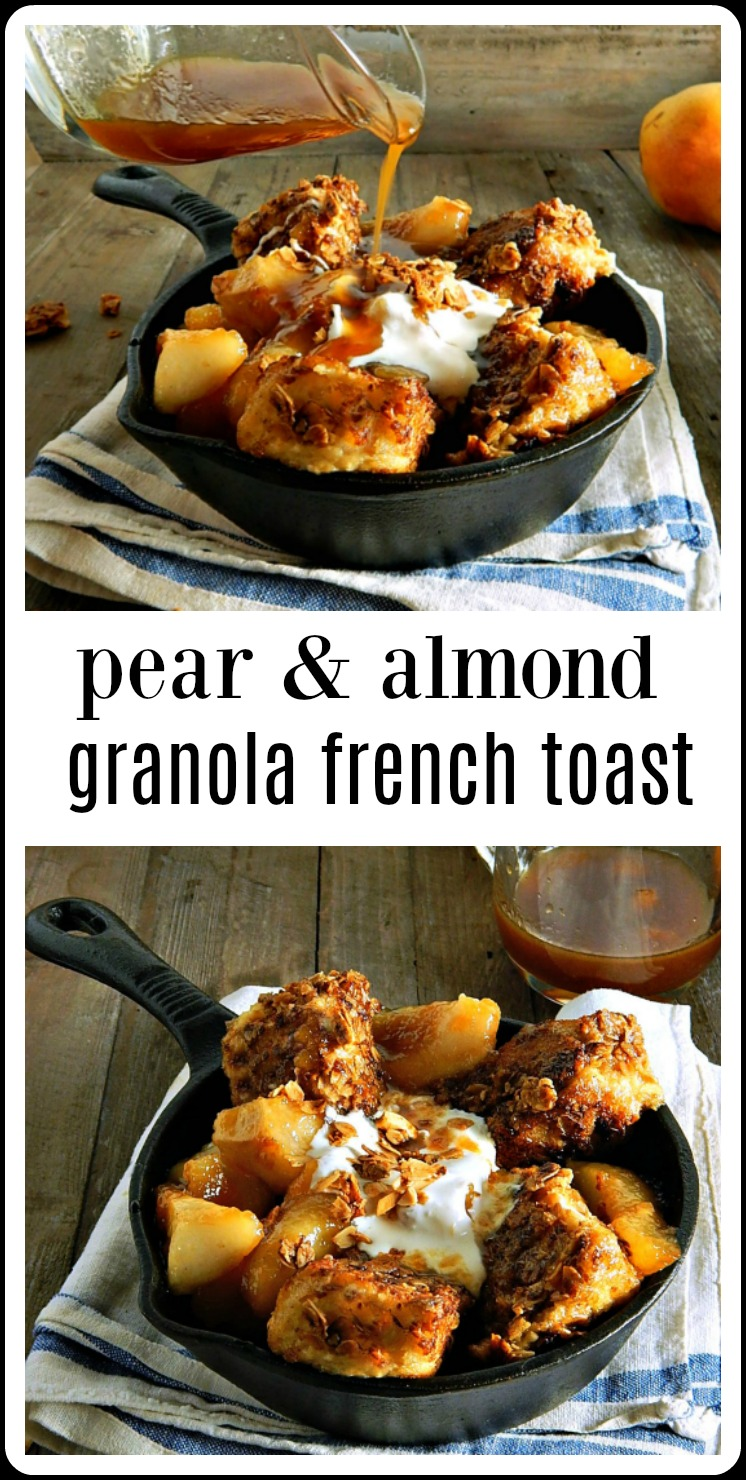 Insanely good, this Epic Pear Almond Granola French Toast is drenched Pear Brown Sugar Caramel Syrup & topped with Mascarpone. #GranolaFrenchToast #PearAlmondGranolaFrenchToast #FrenchToastCerealCrusted