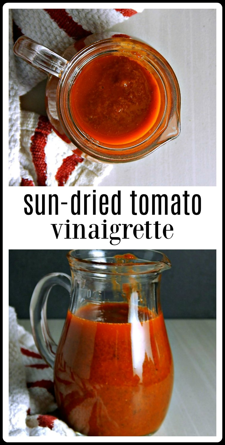 This Sun-Dried Tomato Vinaigrette is so easy, so wholesome and just takes minutes to make! You will never want to go back to store-bought again! You'll love the intense flavors! #SunDriedTomatoVinaigrette #SunDriedTomatoDressing.