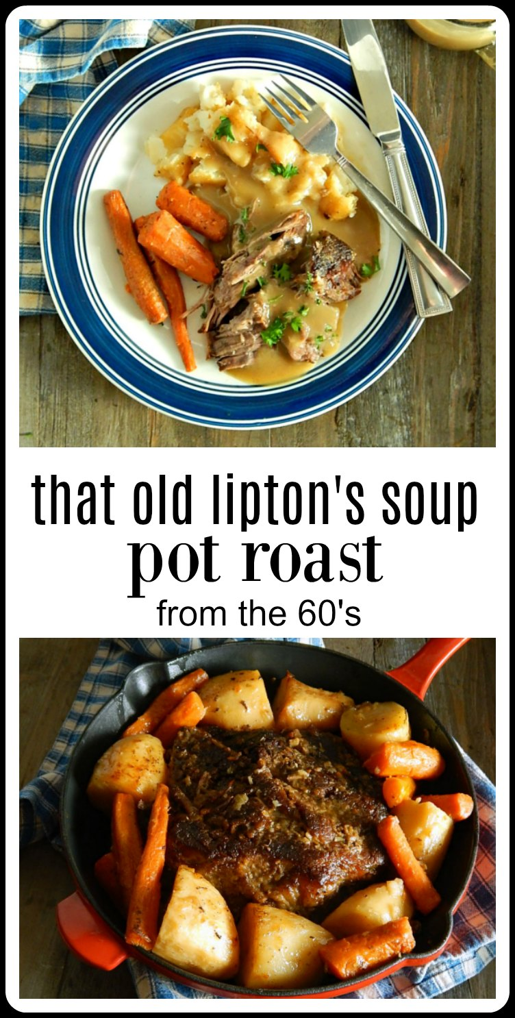 That Old Lipton Onion Soup Pot Roast Recipe is still a classic. Done up with potatoes and carrots in the oven or slow cooker it tastes like home. #PotRoastn #LiptonsPotRoast #LiptonOnionPotRoast #SlowCookerLiptonsPotRoast