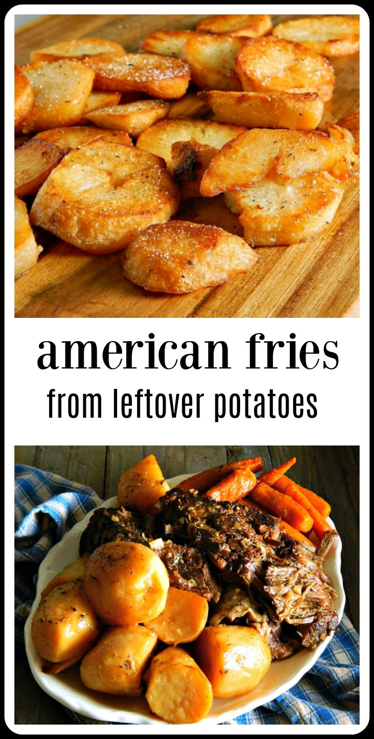 American Fries From Leftover Potatoes are the best because they're twice cooked like fries. Super golden brown & delish & crunchy! You are going to wish & hope for leftover potatoes everytime you make Pot Roast!! #LeftoverPotatoes #AmericanFries #AmericanFriesLeftoverPotatoes