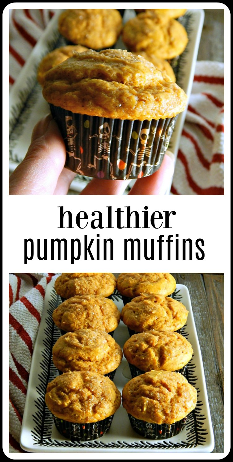 Healthier Cinnamon Sugar Pumpkin Muffins are very tasty and barely sweet. A great healthier option and an answer to all those fall goodies! Super easy to make! #HealthierPumpkinMuffins #HealthyMuffins