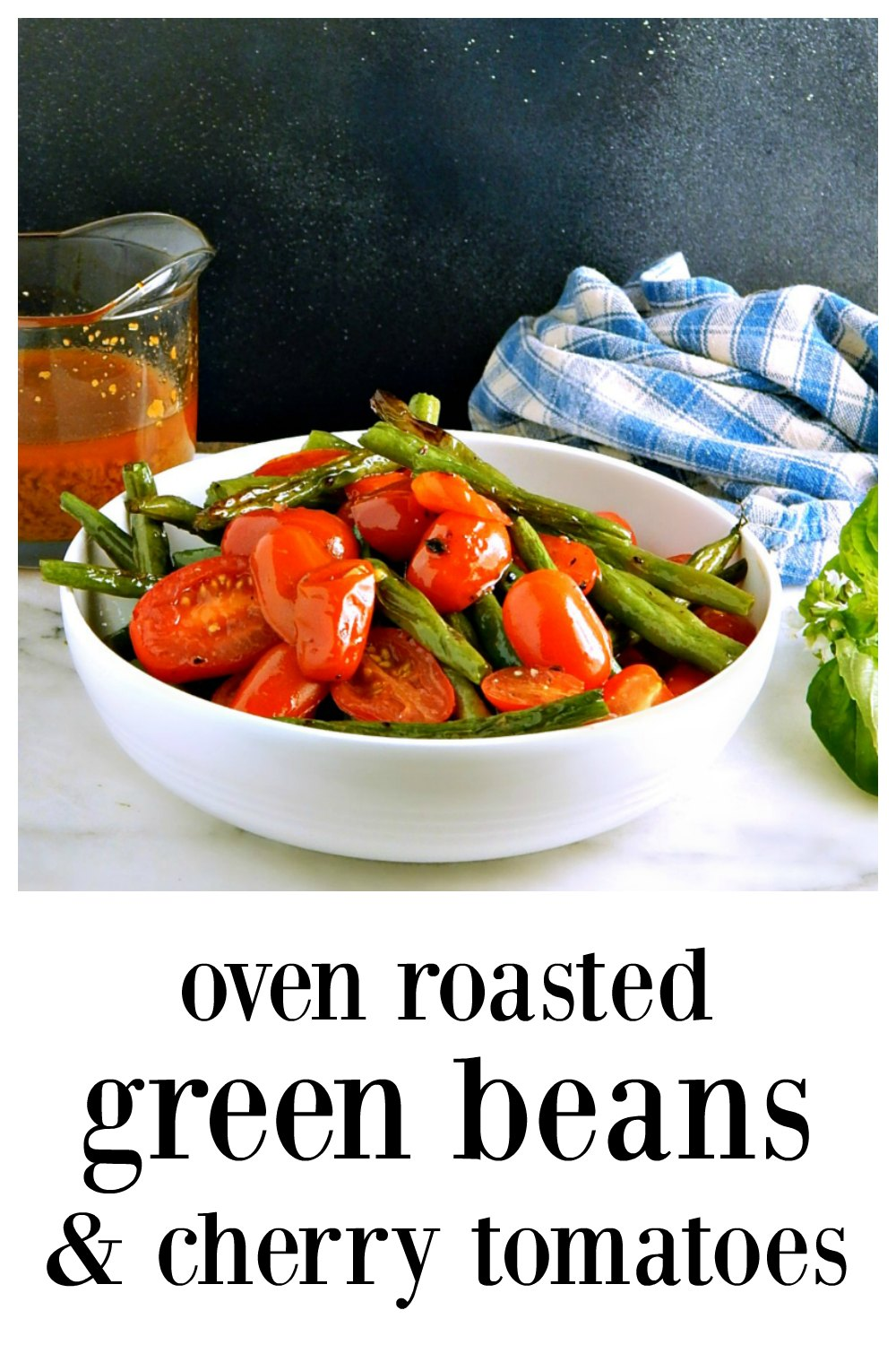 Oven Roasted Green Beans & Cherry Tomatoes are so simple, so easy and so delish! They form their own dressing right on the pan! Just Drizzlel with Balsamic when they come out of the oven #OvenRoastedGreenBeansTomatoes #SheetTrayGreenBeansTomatoes #OvenRoastedGreenBeansCherryTomatoes #SheetTrayGreenBeansCherryTomatoes