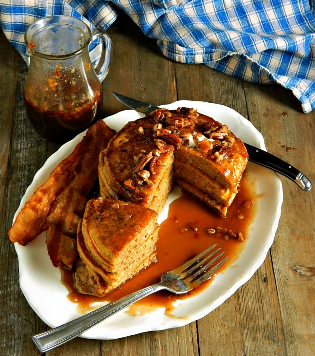 Perfect Pumpkin Spice Pancakes with Bacon Pecan Syrup