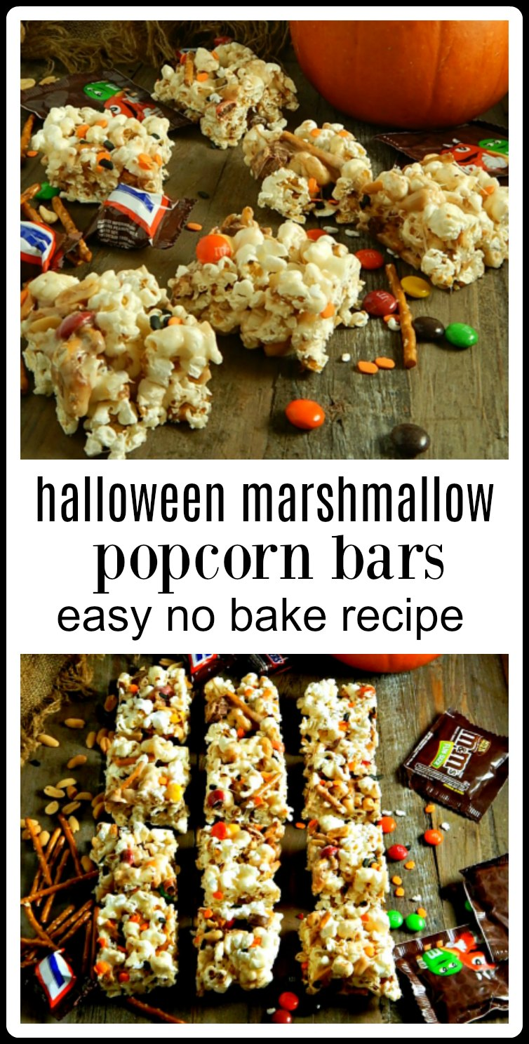 """Halloween Marshmallow Popcorn Bars are an easy no-bake treat that can be customized with all kinds of candy or favorite """"add-ins"""" #PopCornMarshmallowBars #PopcornBars"""