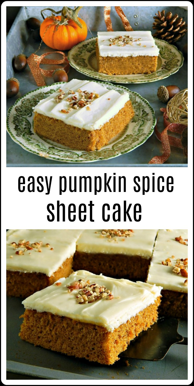 Easy Pumpkin Spice Sheet Cake is so easy it can be mixed by hand and so quick it will be mixed, baked and cooled in no time- it's the perfect cake for a potluck! #PumpkinSheetCake #PumpkinSpiceSheetCake #PumpkinCake