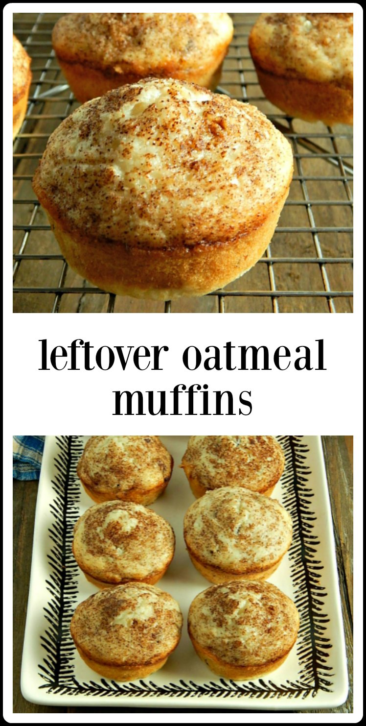 Leftover Oatmeal Muffins; a good, honest everyday muffin. Easy, fast, healthy & cheap, they're a great way to use up any cooked oatmeal. #LeftoverOatmealMuffins