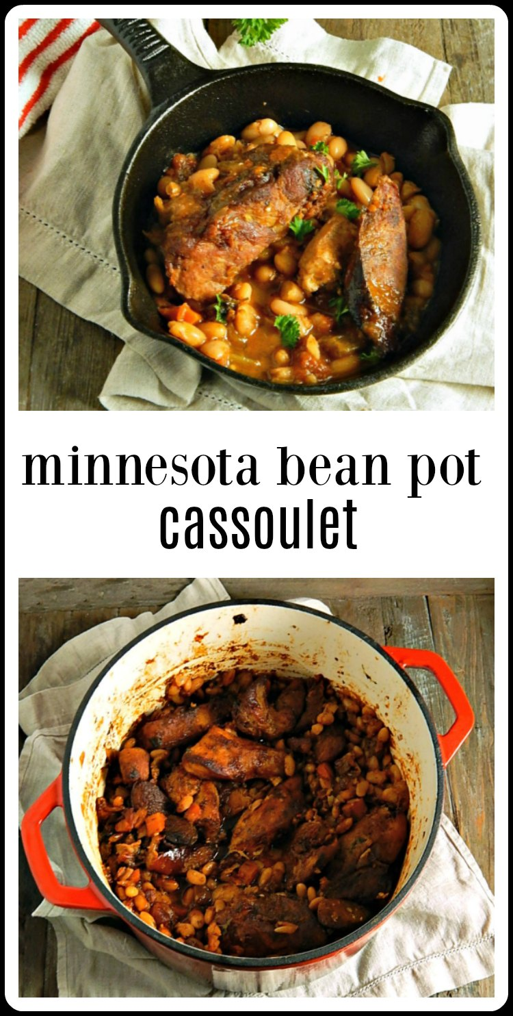 "Yes, beans can be fabulous, like this Minnesota Cassoulet ""Bean Pot"" full of chicken, pork, bacon, and sausage. Now, this screams ""fall!"" This is long, slow cooking at it's best. #BeanPot #MinnesotaCassoulet"