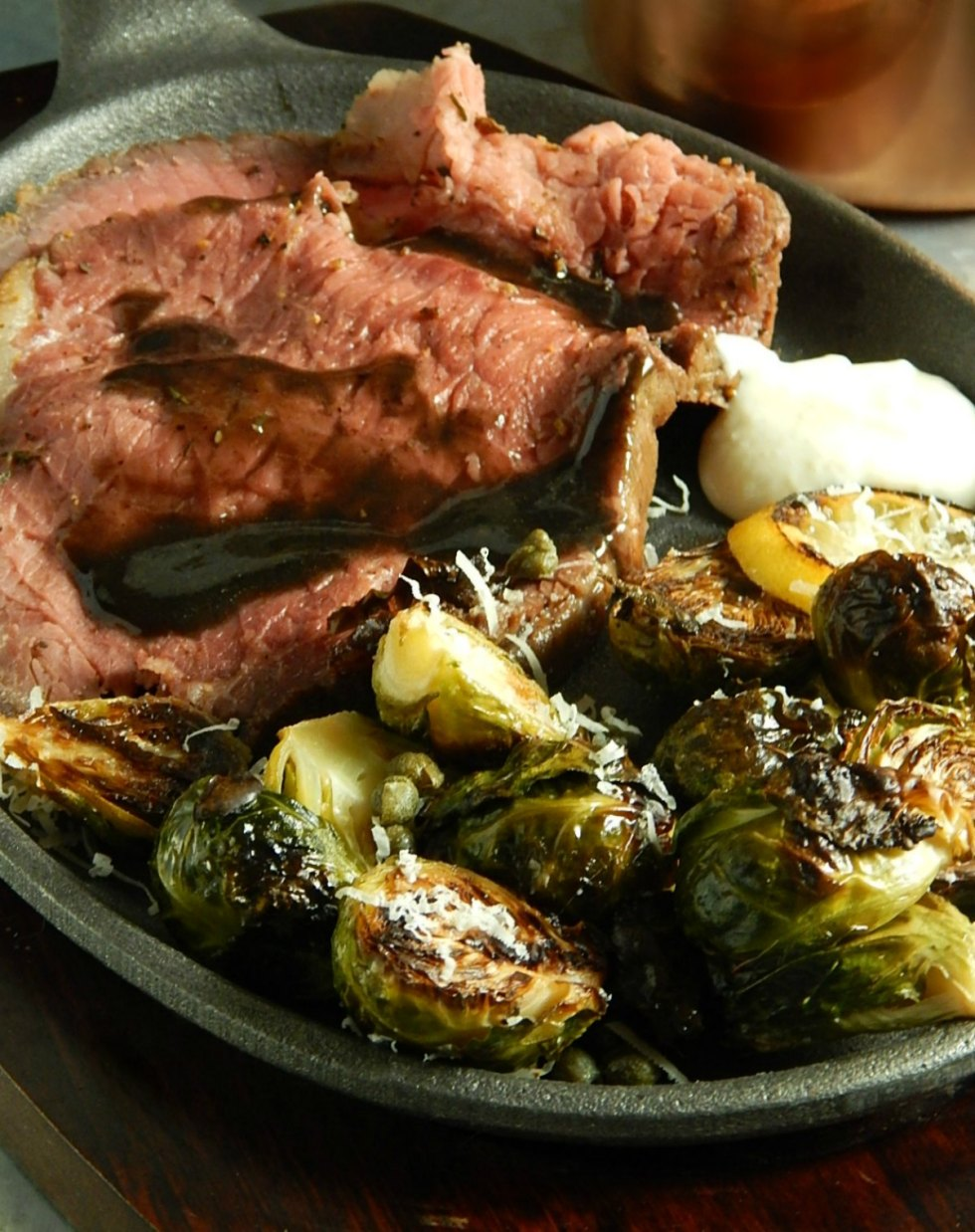 Poor Man's Mock Prime Rib with Restaurant Style Brussels with Lemon Caper Butter Sauce