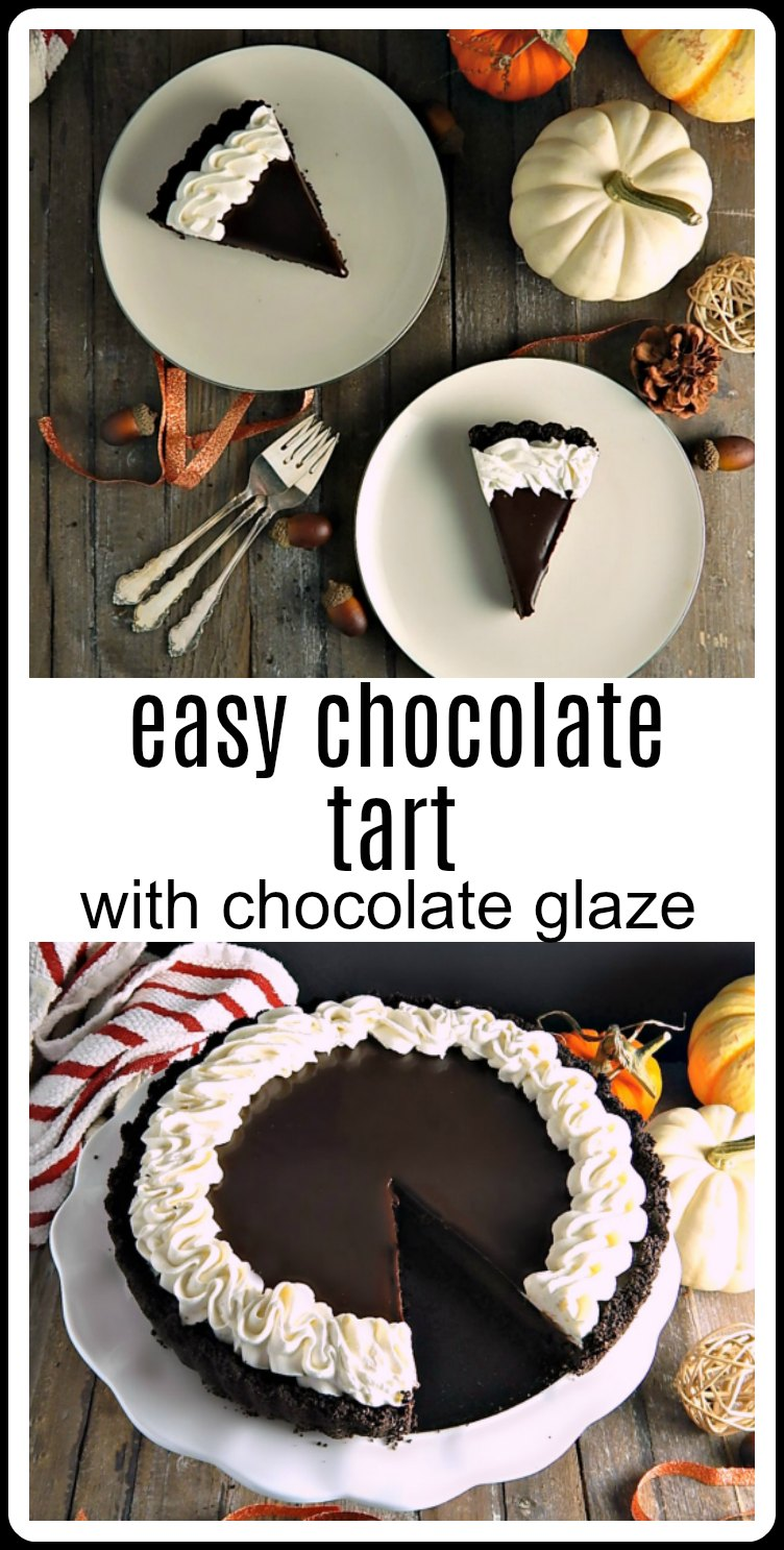 Chocolate Glazed Tart - Easy tart: chocolate on chocolate on chocolate! Seriously luscious! No one will guess how easy this elegant dessert is! #ChocolateTart