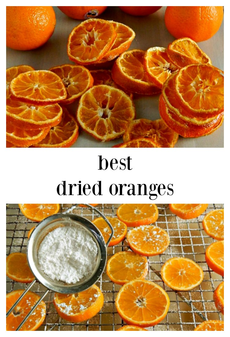 These easy Beautiful Dried Oranges dry a bit faster and look lovely thanks to a bit of sugar. They taste as good as they look. This recipe dries any citrus in about 2 1/2 hours in the oven. #DriedOranges #DriedCitrus