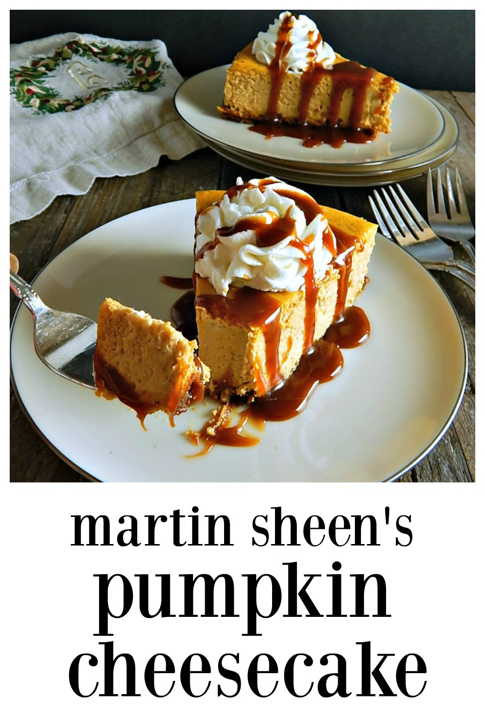 Martin Sheen's Pumpkin Cheesecake is spectacular. It's a high, firm, mellow cheesecake, gently spiced & it looks like the product of a fine bakery; the recipe comes from Sheen's daughter who was a pastry chef. Straightforward & easy to make and feeds 12 - 16, you'll be a hero when you bring this to the table! #MartinSheensPumpkinCheescake #PumpkinCheesecake #BestPumpkinCheesecake #EasyPumpkinCheesecake