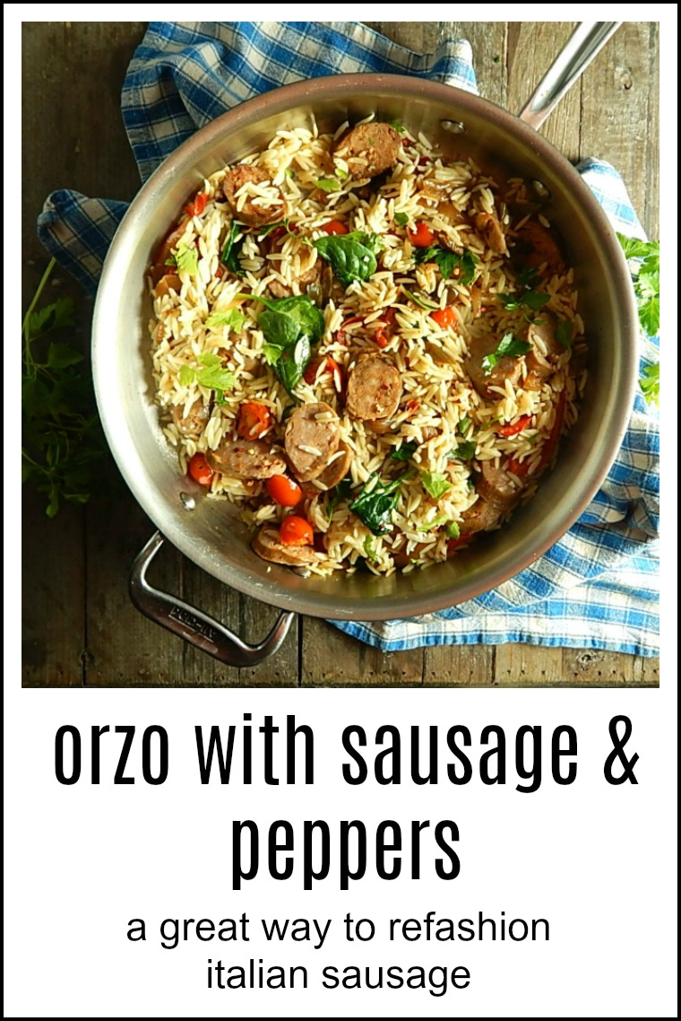 Orzo with Sausage & Peppers is an easy, quick meal - it's your solution for any leftover Italian sausage links from game day, or start from scratch. #OrzoItalianSausage #PastaItalianSausage