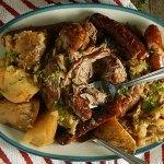 Braised Pork Roast with Sausage & Cabbage