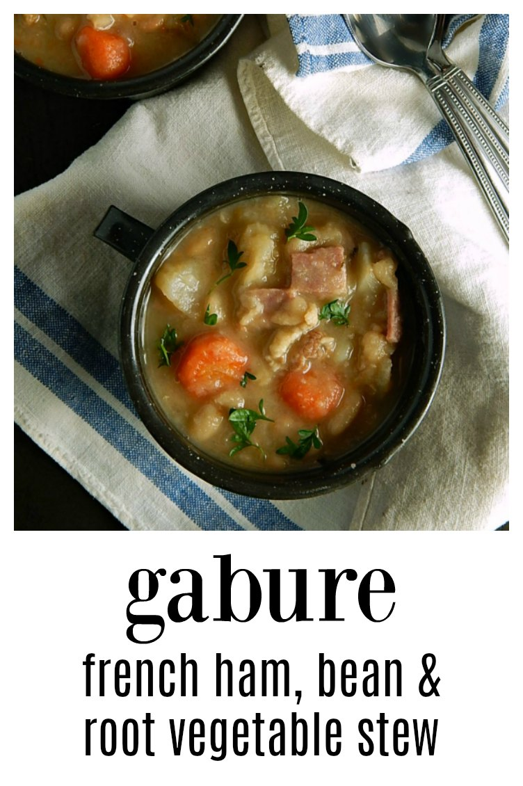Gabure French Bean Stew is a great use for your holiday ham bone - slow-cooked comfort food, this is a melange of ham, beans, and vegetables! #Gabure #FrenchBeanStew #FrenchBeanSoup