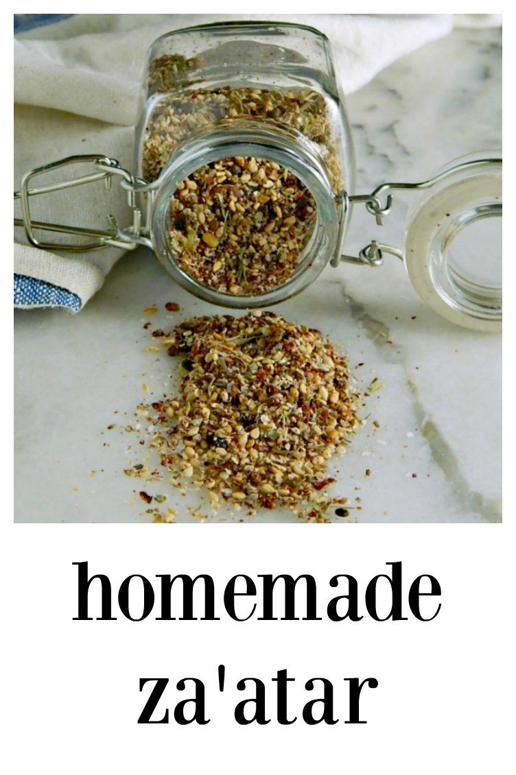 Homemade Za'atar Spice - just a few ingredients and you'll go wild finding things to sprinkle this on! Making your own is fresh and fast. #Za'atar #HomemadeZa'atar