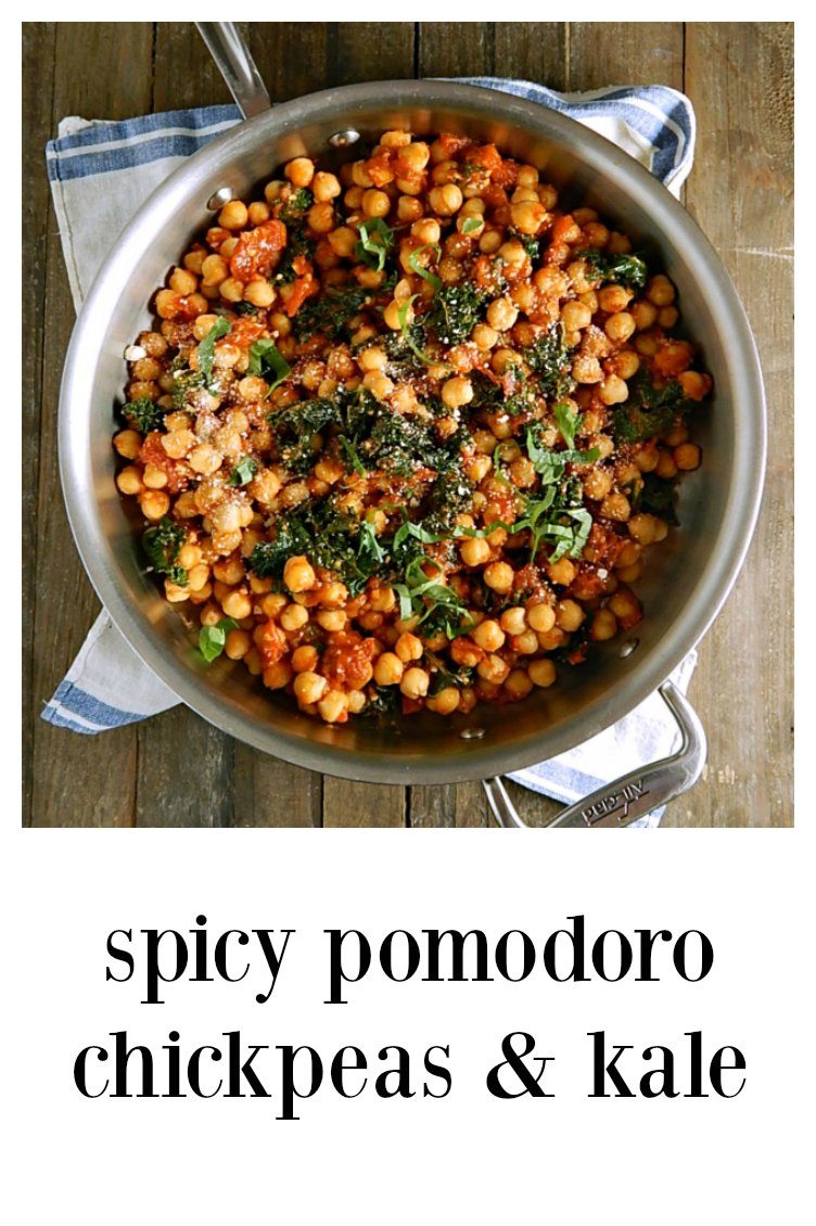 Spicy Pomodoro Chickpeas are going to blow your mind! The easy, spicy Italian tomato sauce makes anything taste fantastic! You won't even know this quick meal is healthy! #SpicyChickpeas #SpicyChickpeas #SpicyPomodoroChickpeas