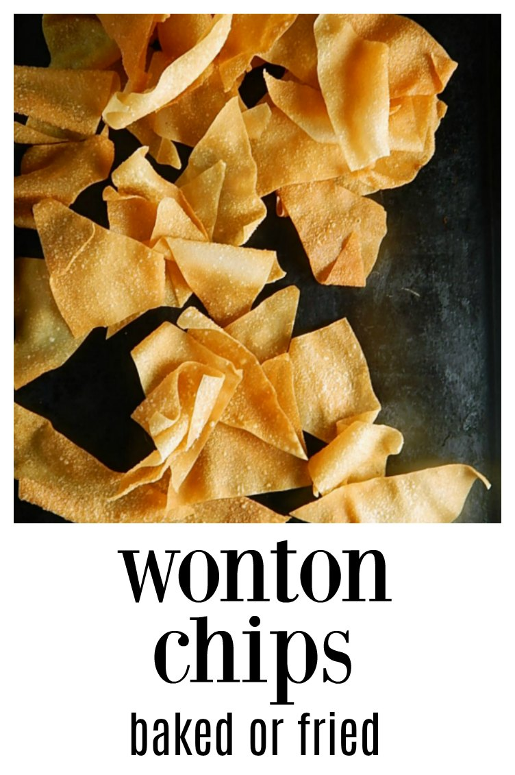 Wonton Chips Baked or Fried, so simple so fresh and so good with Crab Rangoon Dip or on their own! Warning - they are addictive. #WontonChipsFried #BakedWontonChips