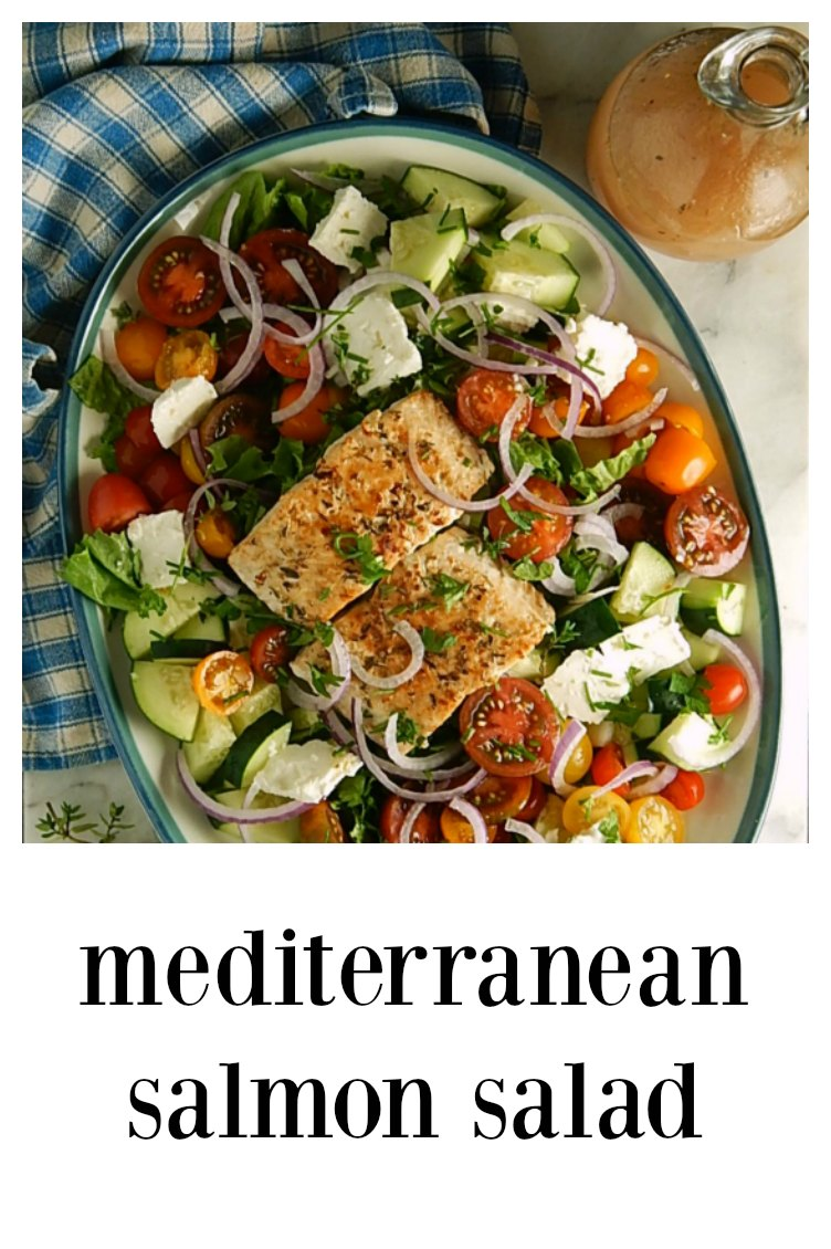 When it's hot outside, you need this easy and fabulous Mediterranean Salmon Salad on your table. Great for meal prep. #MediterraneanSalmonSalad #GreekSalad #GreekSalmonSalad