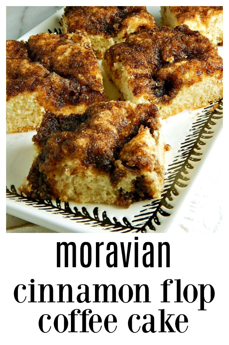 Moravian Cinnamon Flop Cake is a heritage recipe; pockets of gooey cinnamon sugar run through the cake & it's the fastest easiest coffee cake, ever! Mix by hand in minutes! #MoravianCinnamonFlopCake #FlopCake #CinnamonFlopCake #MoravianCoffeeCake #CoffeeCake