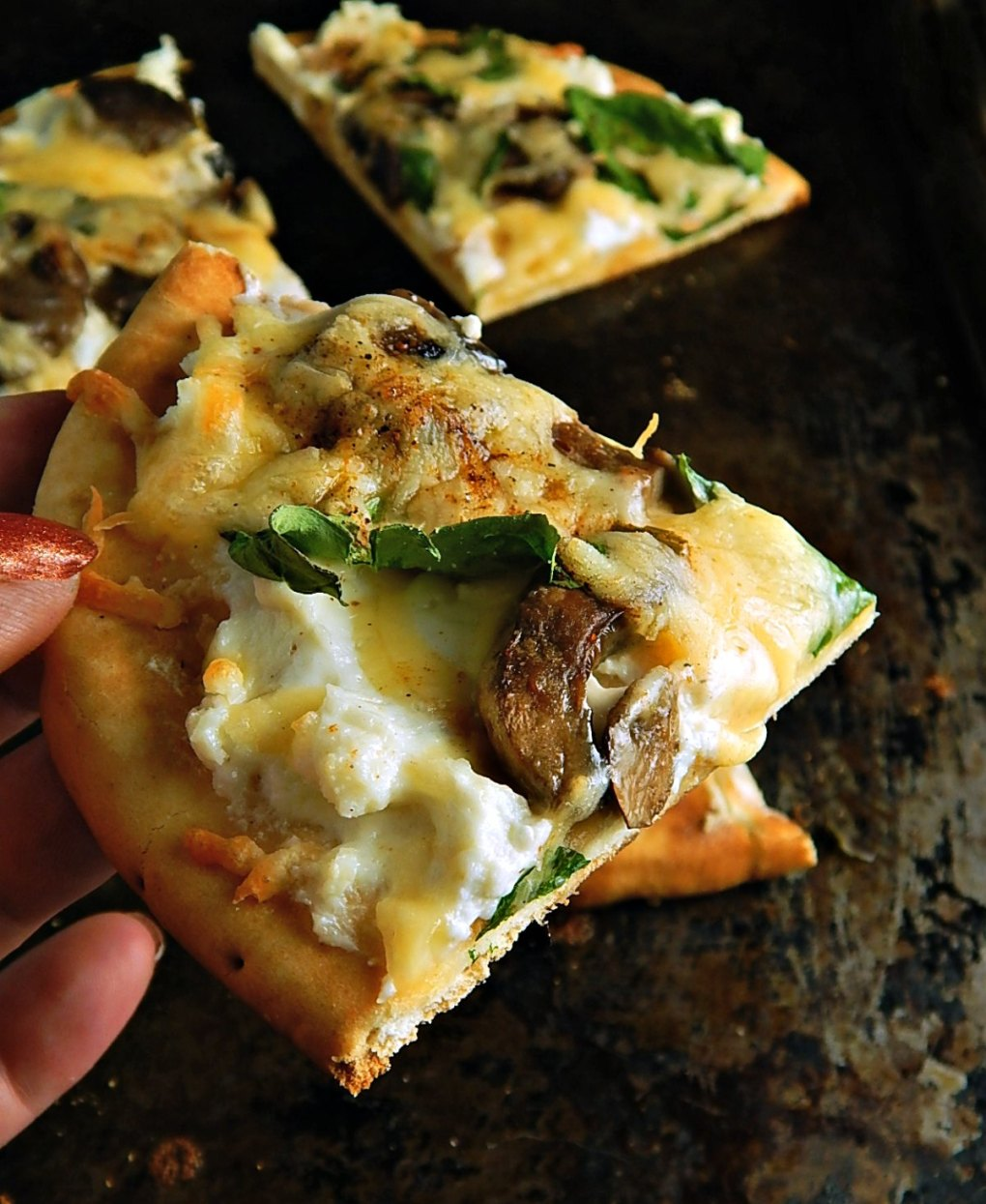 Mushroom Ricotta Flatbread Pizza