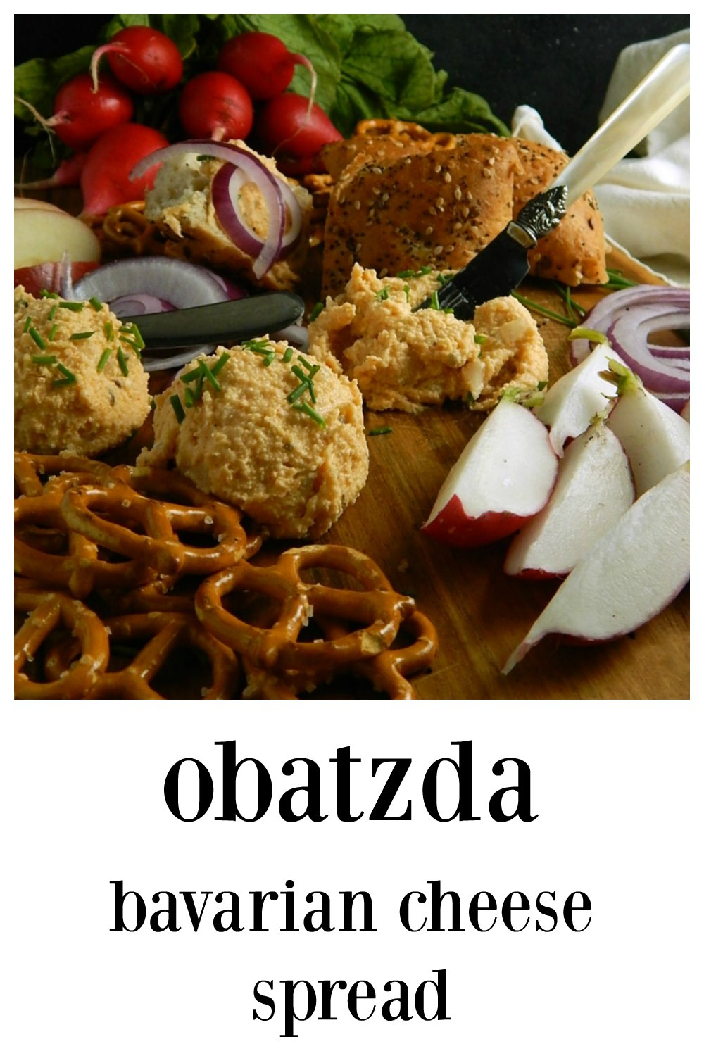 Maybe we can't all be at the Biergarten but we can have Obatzda – Bavarian Cheese Spread any time...simple and so flavorful! #GermanCheeseSpread #GermanFood #OctoberfestFood #BavarianCheeseSpread #Obatzda