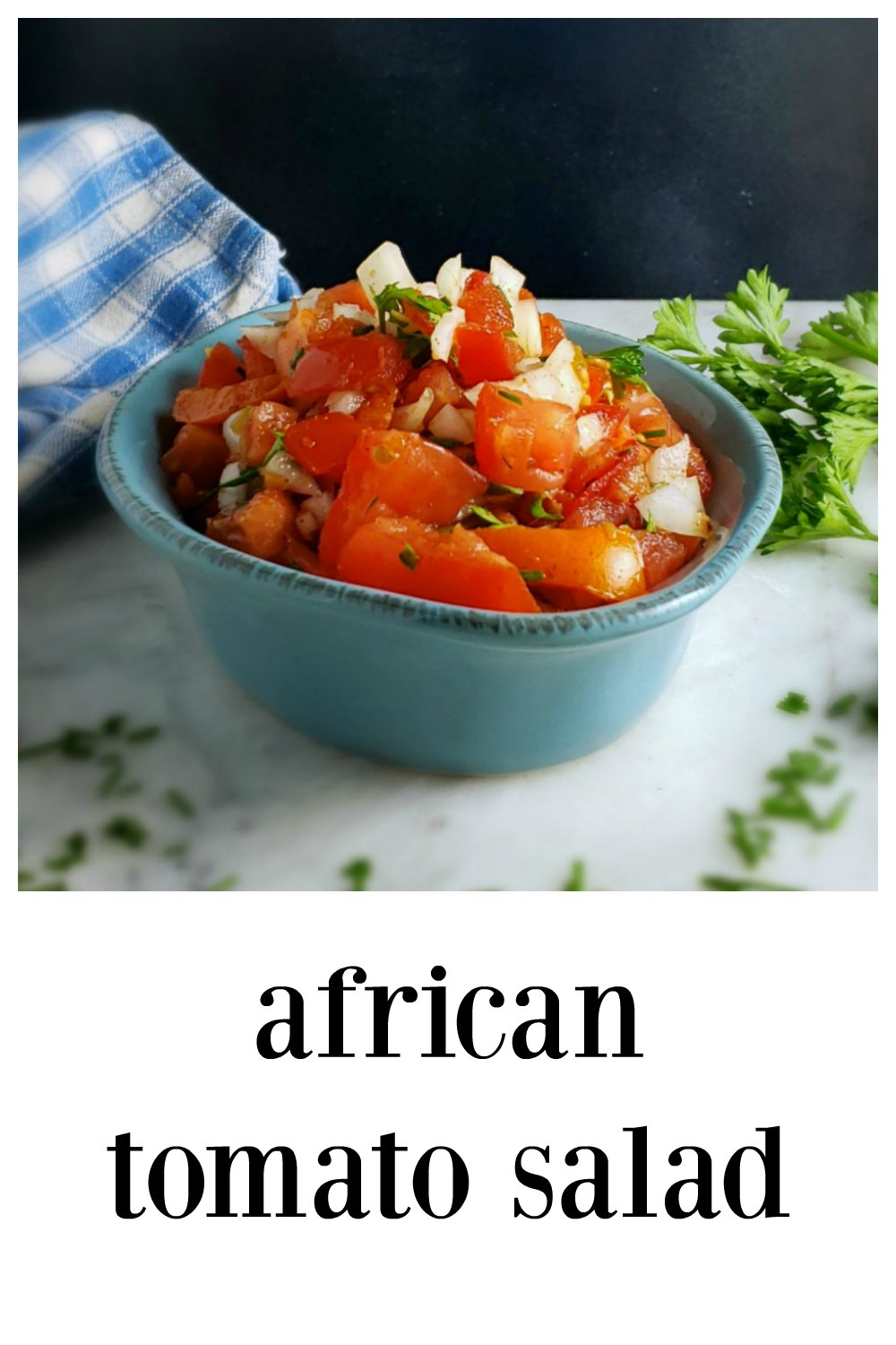 This fun and zesty African Tomato & Onion Salad is going to pretty familiar. It's like a salsa, and meant to be served as a condiment and a salad. #TomatoSalad #AfricanTomatoOnionSalad