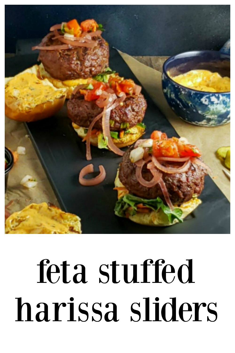 You're gonna feel like you're in a trendy Brew Pub or Bistro when you serve Feta Stuffed Harissa Sliders! They're fab! Step by Step directions. #FetaStuffedHarissaSliders #GrilledSliders #FetaStuffedHarissaBurgers