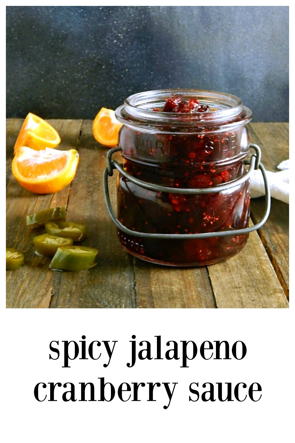 This Spicy Jalapeno Cranberry Sauce is not your Grandma's sauce! It's a jammy chutney, zinging with flavor. A perfect counterbalance to your holiday meal. #CranberrySauce #SpicyJalapenoCranberrySauce #SpicyCranberryChutney #JalapenoGingerCranberrySauce