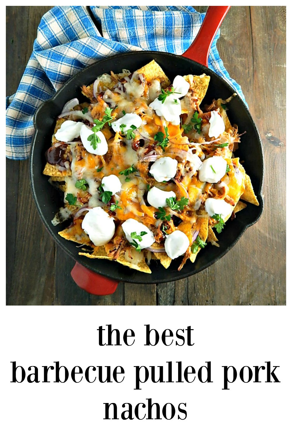 The BEST Barbecue Pulled Pork Nachos. Loaded with pulled pork, cheeses & your favorite sauce. Accented with the bite of red onion, top as you wish! Make a boatload or cut the recipe back. Pulled pork can be made in the IP or Slow Cooker. #PulledPorkNachos #BarbecueNachos #Nachos #SuperbowlNachos #GameDayNachos