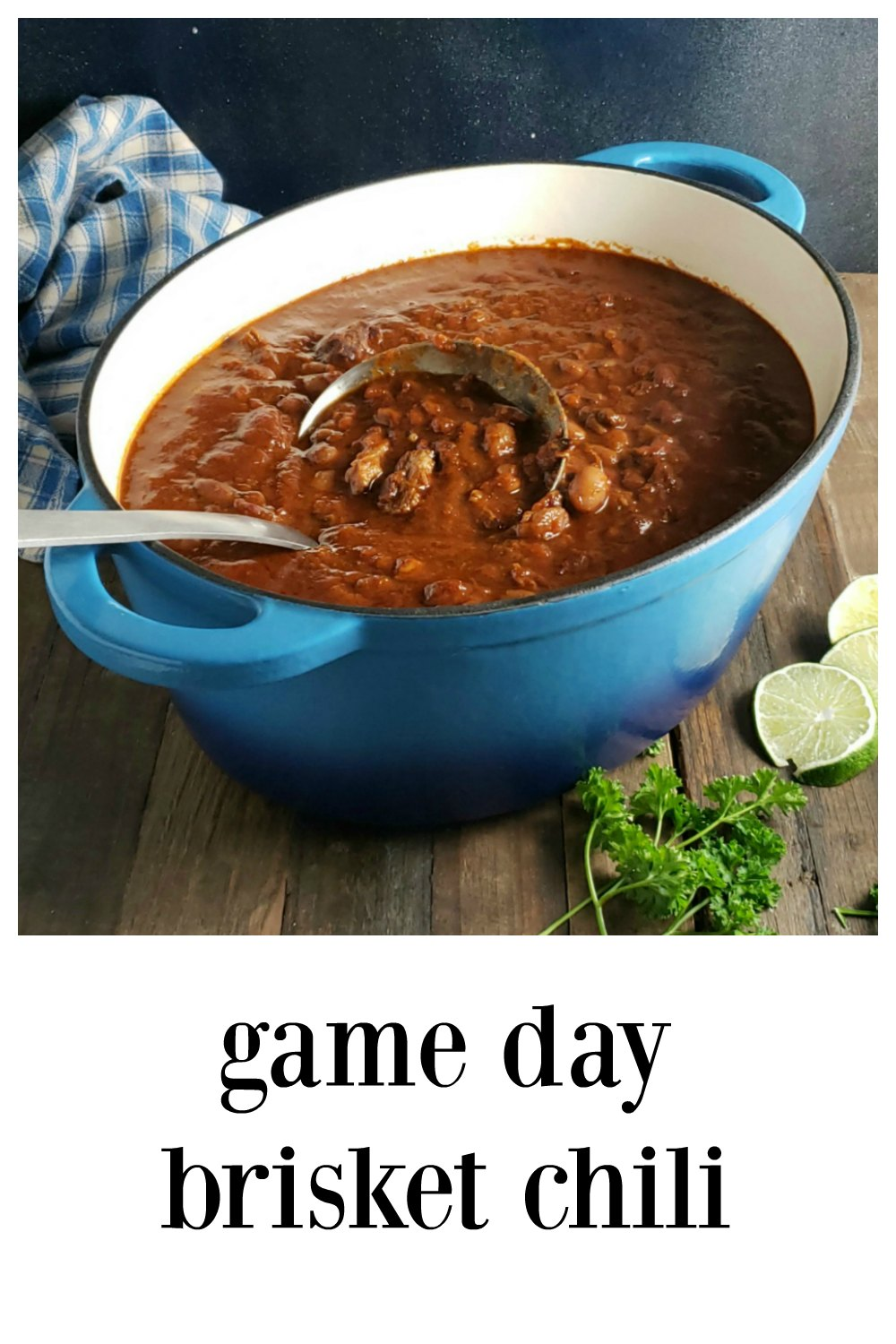 Game Day Brisket Chili is a serious scratch chili chock full of Brisket or other smoked meats that you're gonna want for your Superbowl or Tailgating partly! It's just full of everything good and the beans help keep it in budget! #BrisketChili #SuperbowlFood #GameDayFoods #TailgatingChili #Chili #BarbecueChili #SmokedBrisketChili #BurntEndsChili