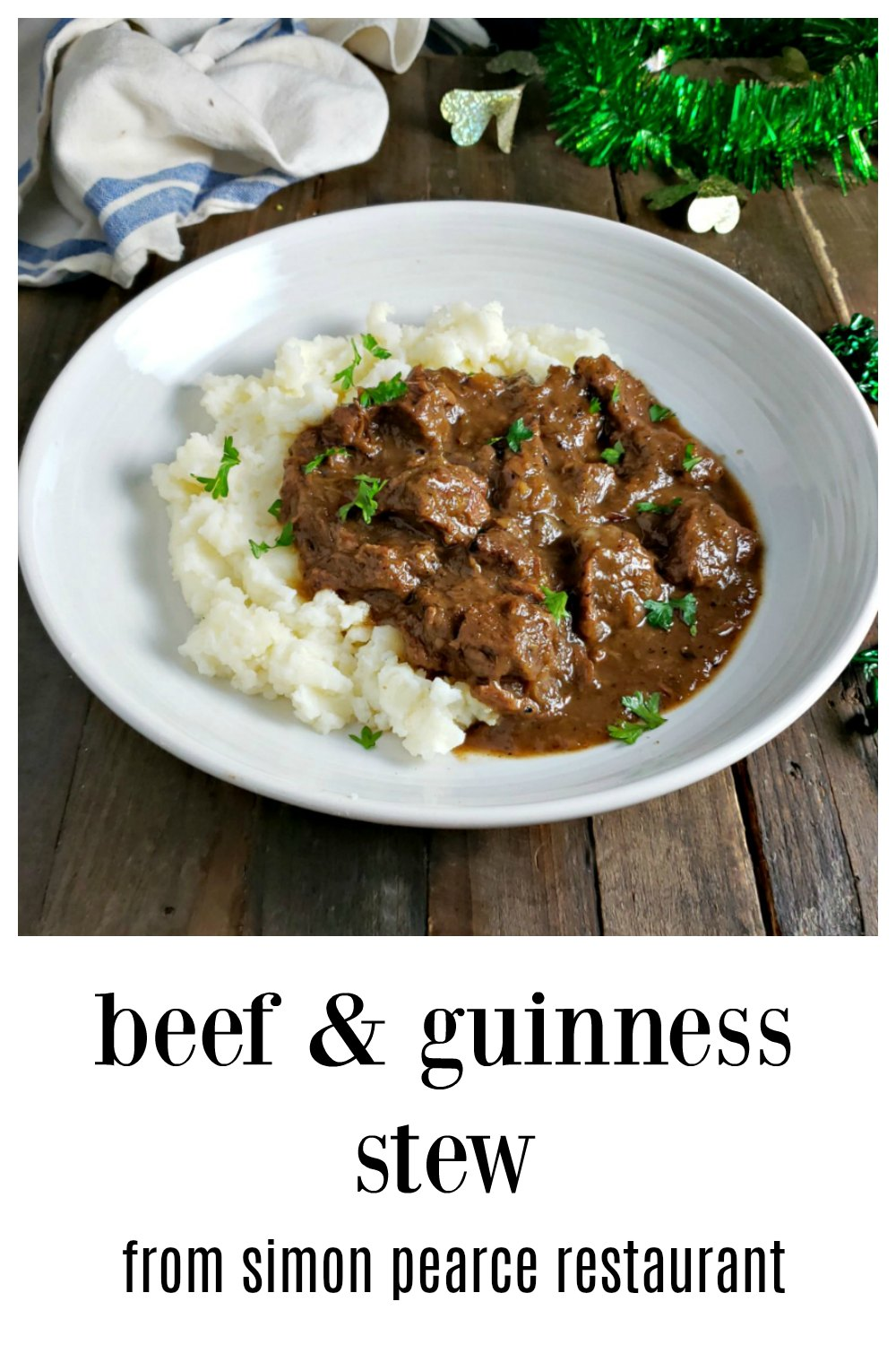 Perfect for St. Paddy's Day or anytime, this Beef Guinness Stew Simon Pearce version is stellar! Serve over mashed for pure comfort or over baked potatoes. #IrishStew #BeefStew #BeefGuinnessStew #IrishRecipes #MillAtSimonPearce #SimonPearceBeefStew #SimonPearceBeefGuinnessStew #SimonPearceRecipe #StPaddysDayRecipe #StPatricksDayRecipe #StPaddysIrishStew StPaddysBeefSTew #StPannysGuinnessStew