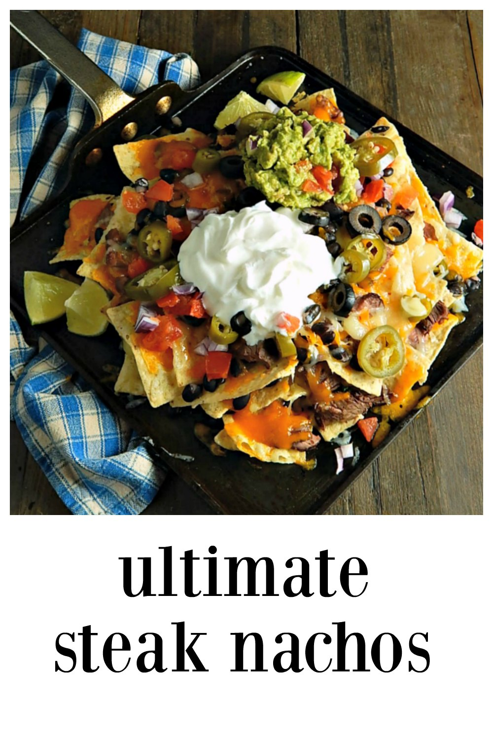 Ultimate Steak Nachos - You'll WANT to be home for these! Everything you could ever want in a Nacho straight from your oven! Heaven! #UltilmateNachos #SteakNachos #UltimateSteakNachos #LeftoverSteak #CincoDeMayo #BarFood