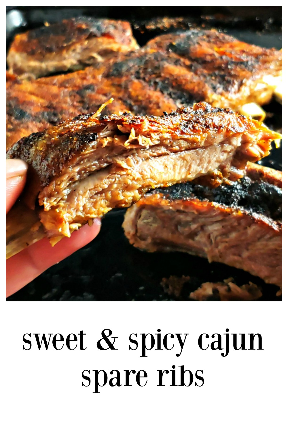 These super easy ribs are gonna blow your mind! Just enough spice to enhance, they're juicy with a gorgeous bark. Smoke, Oven Cook or make in Instant Pot. #CajunSpareRibs #CajunRibs #InstantPotRibs #IPRibs #SpareRibs #SmokedCajunRibs