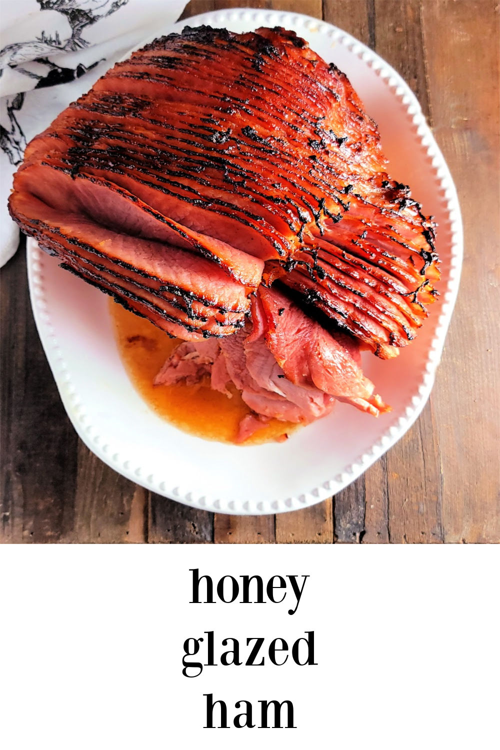 Honey Glazed Ham rivals the ones from the famous store and our family loves it even more! Easy and delish and perfect for any holiday or brunch. #HoneyGlazedHam #Ham #HoneyBakedHamClone