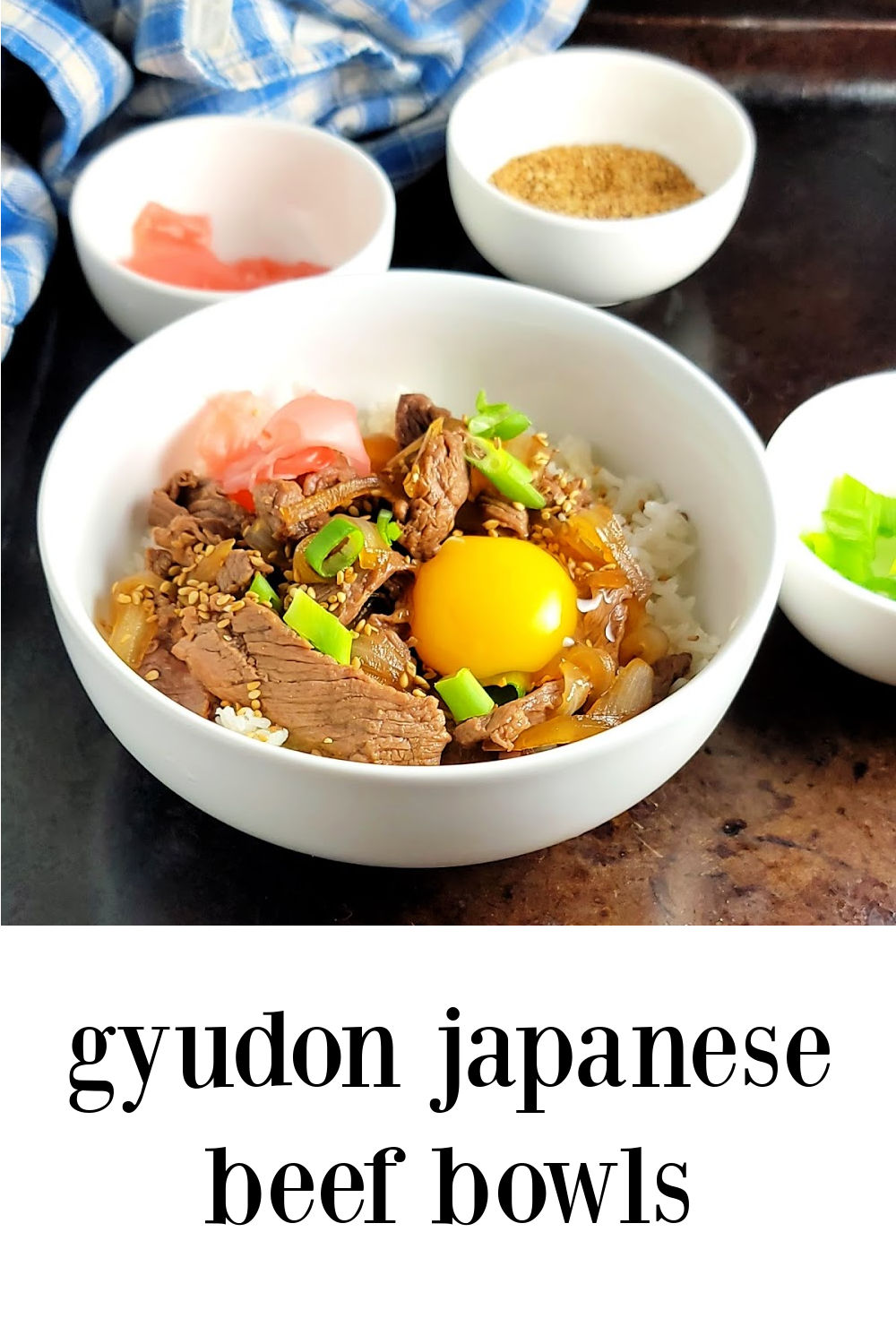 Gyudon Japanese Beef & Rice Bowls are found all over Japan but they're super simple and super fast to make right at home and surprisingly affordable. Dinner in under 20 minutes! #JapaneseBeefRiceBowls #Gyudon #JapaneseFood #RiceBowls #Steak