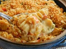 Cheesy Chicken (or Turkey) Casserole https://frugalhausfrau.com/2011/11/14/cheesy-chicken-or-turkey-noodle-casserole/