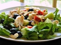 Chicken & Fruit Salad https://frugalhausfrau.com/2015/05/29/chicken-fruit-salad-with-raspberry-dressing/
