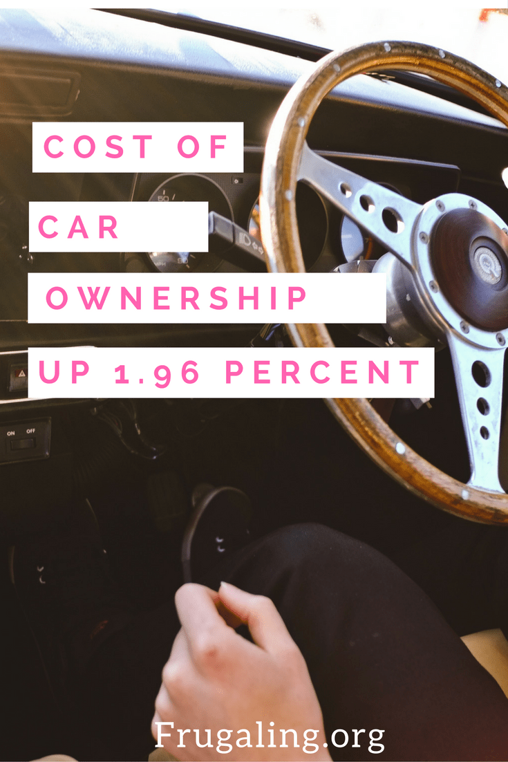 Cost Of Car Ownership Up 1.96 Percent. This statistic is based off of 15,000 driven miles in an average size sedan. They calculate that with gas, maintenance, tires, insurance, and depreciation, you spend about 60.8 cents per mile.
