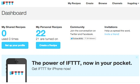 IFTTT Dashboard Screenshot Automate Twitter