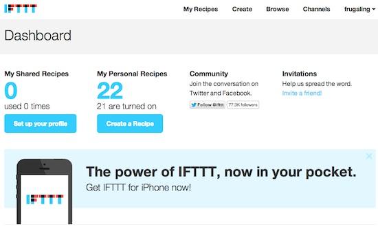 IFTTT Dashboard Screenshot Automate Twitter