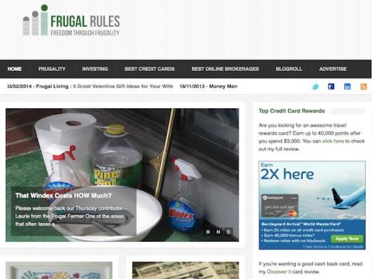 Frugal Rule Website Screenshot