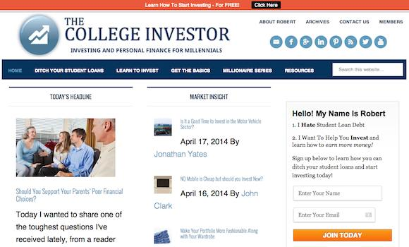 Screenshot of The College Investor Homepage
